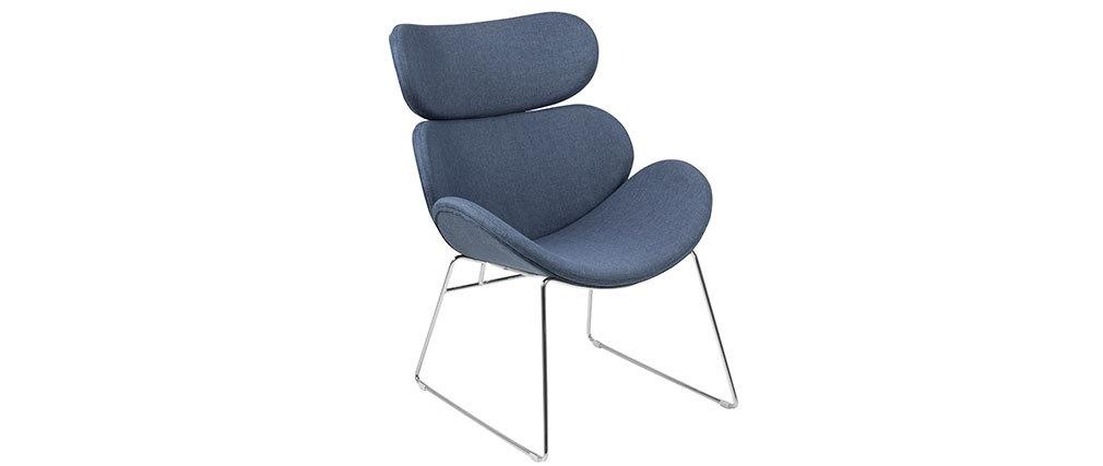 Sillón diseño contemporáneo azul oscuro GABRIEL
