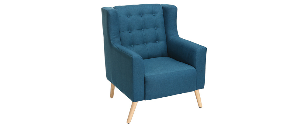 Sillón diseño escandinavo azul petróleo y madera clara BRIGHTON