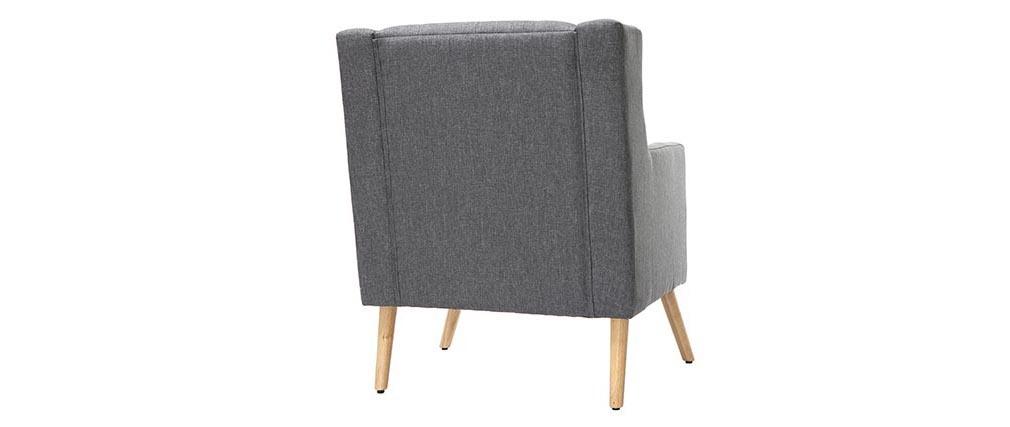 Sillón diseño escandinavo gris oscuro y madera clara BRIGHTON