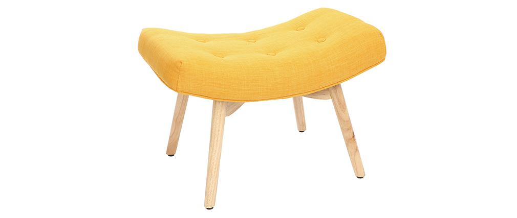 Sillón diseño escandinavo y reposapiés amarillo y madera clara BRISTOL