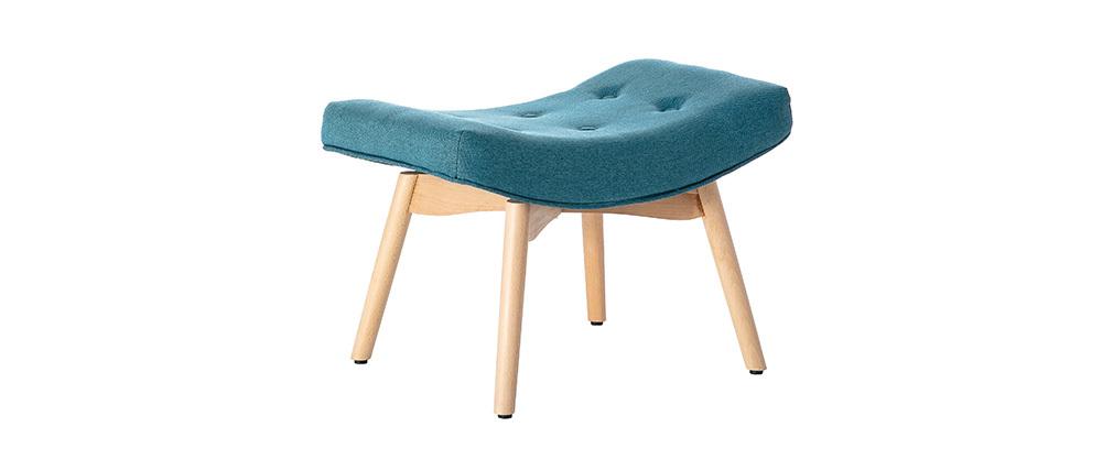 Sillón diseño escandinavo y reposapiés azul petróleo y madera clara BRISTOL