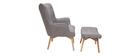 Sillón diseño escandinavo y reposapiés gris claro y madera clara BRISTOL