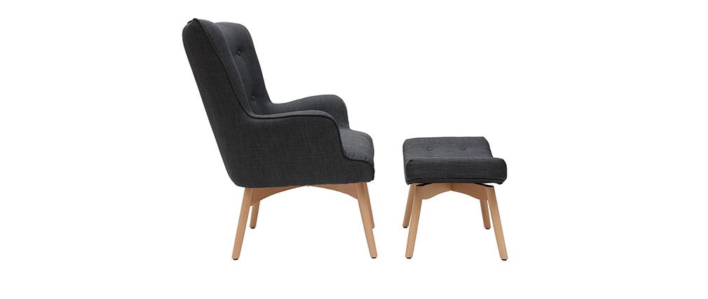Sillón diseño escandinavo y reposapiés gris oscuro y madera clara BRISTOL