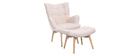 Sillón diseño escandinavo y reposapiés rosa y madera clara BRISTOL