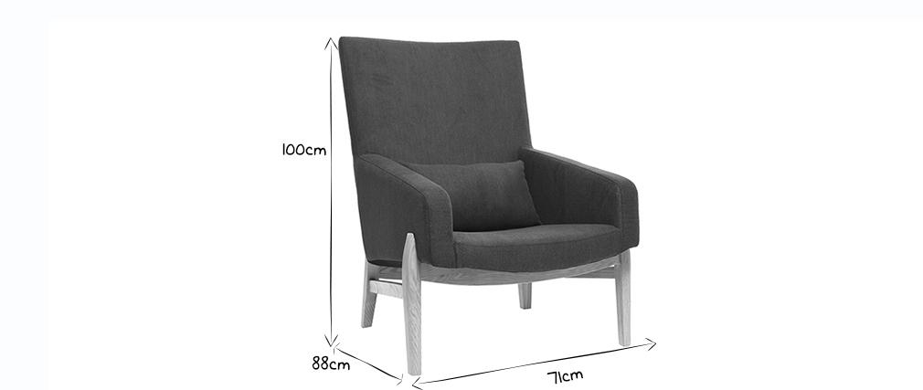 Sillón diseño gris antracita patas madera KYOTO