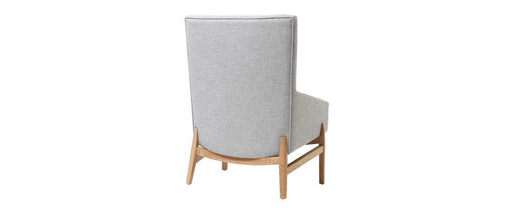 Sillón diseño gris patas madera KYOTO