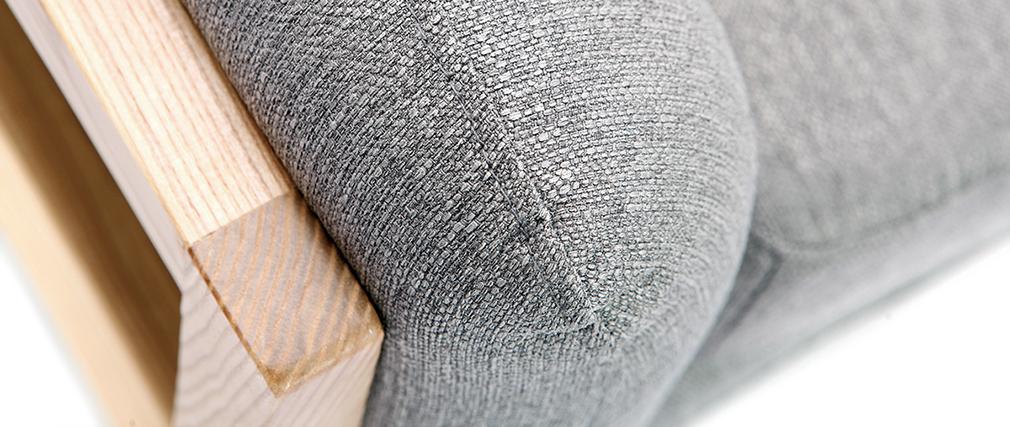 Sillón diseño gris patas madera YOKO