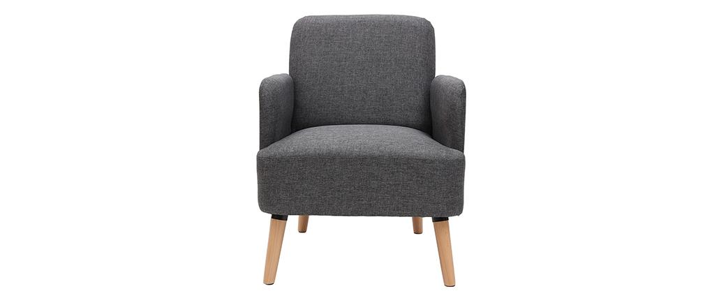 Sillón diseño gris y patas madera ISKO