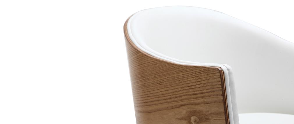 Sillón Diseño madera clara y PU blanco NORDECO