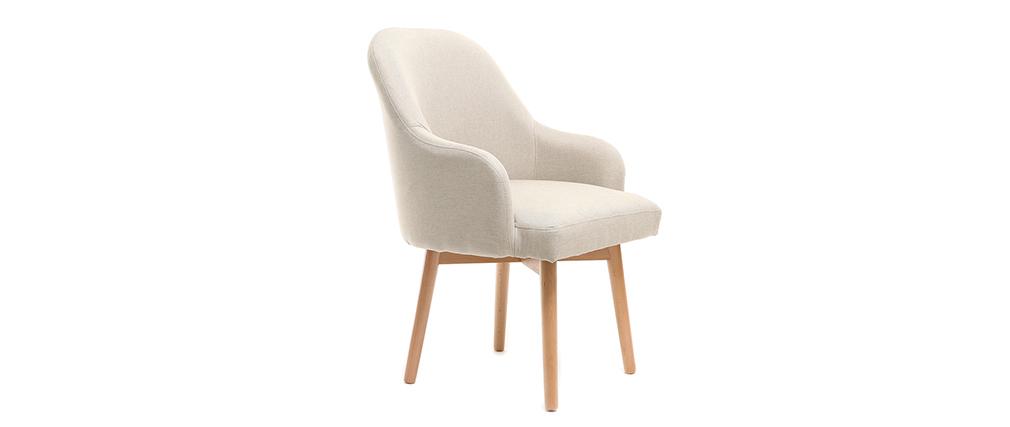 Sillón diseño natural patas madera clara MONA