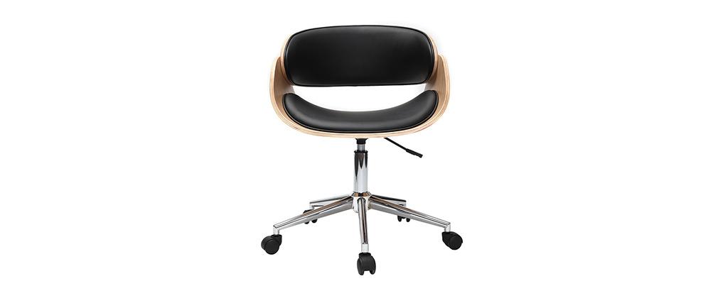 Sillón diseño negro y madera clara con ruedas BENT