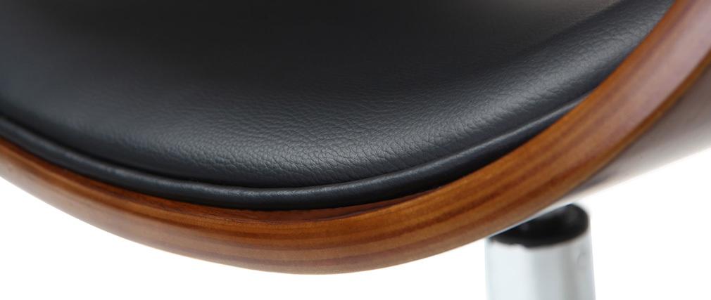 Sillón diseño negro y madera con ruedas BENT