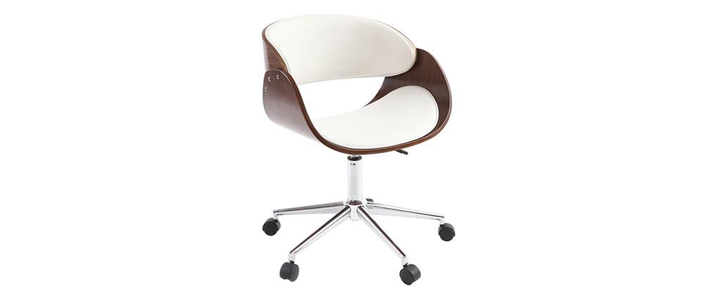 Sillón diseño nogal y blanco con ruedas BENT