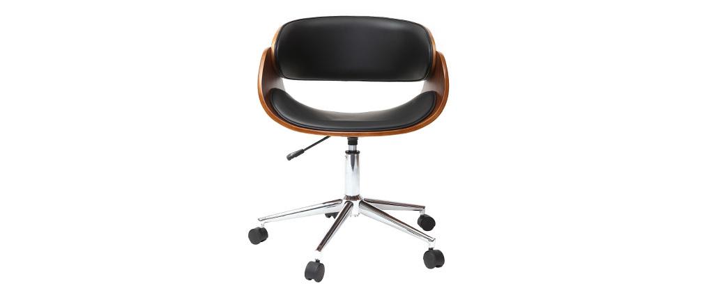Sillón diseño nogal y negro con ruedas BENT