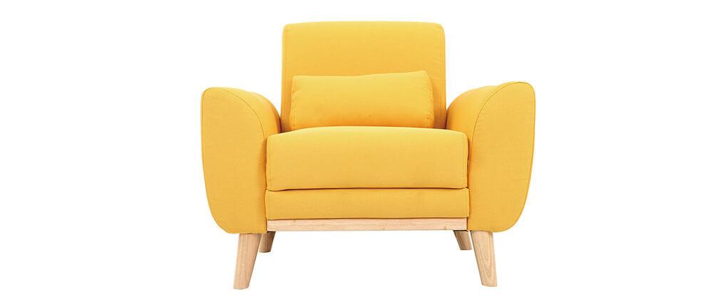 Sillón diseño tejido amarillo y patas roble  EKTOR