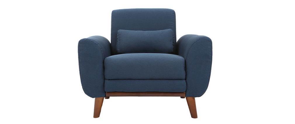 Sillón diseño tejido azul y patas nogal EKTOR