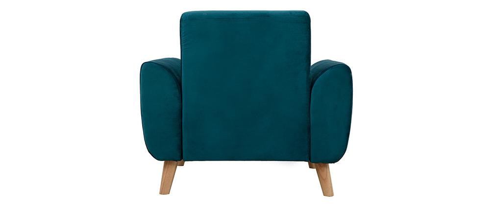 Sillón diseño tejido efecto terciopelo azul petróleo y patas roble  EKTOR