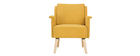 Sillón efecto terciopelo amarillo mostaza AEOLA