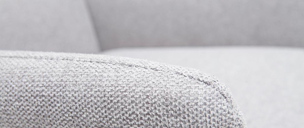 Sillón en metal y tejido efecto terciopelo gris claro COME
