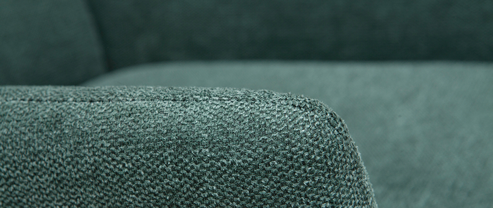 Sillón en metal y tejido efecto terciopelo verde COME
