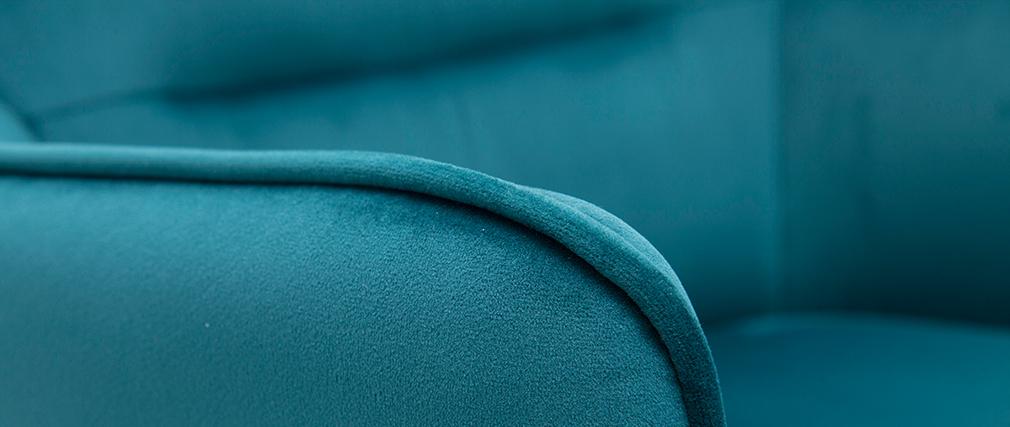 Sillón en tejido efecto terciopelo azul petróleo LAURENS