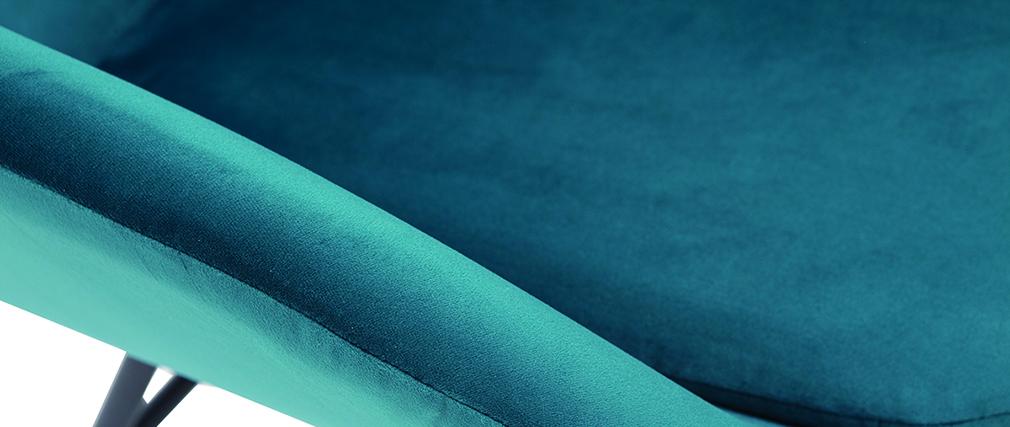 Sillón en tejido efecto terciopelo azul petróleo MAYNE