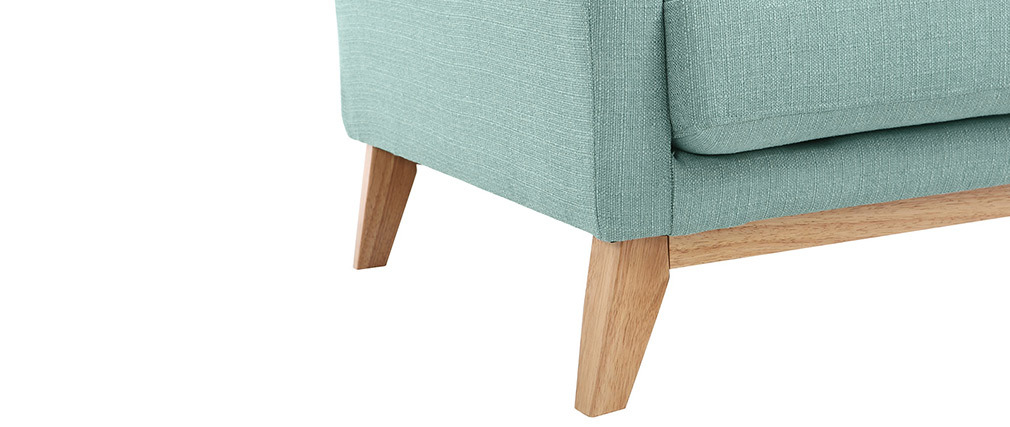 Sillón escandinavo azul claro patas madera clara OSLO
