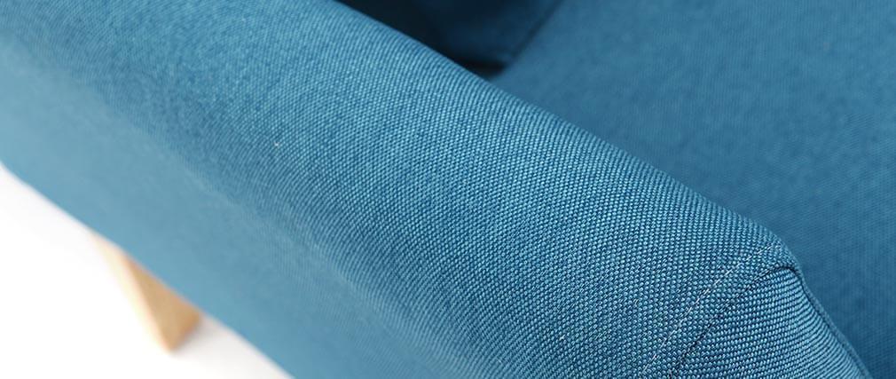 Sillón escandinavo azul petróleo patas madera clara OSLO
