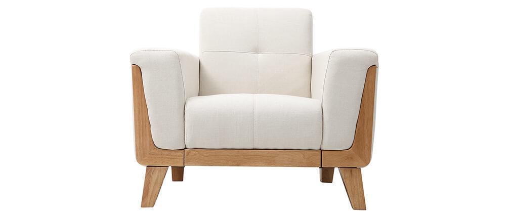 Sillón escandinavo blanco patas madera FJORD