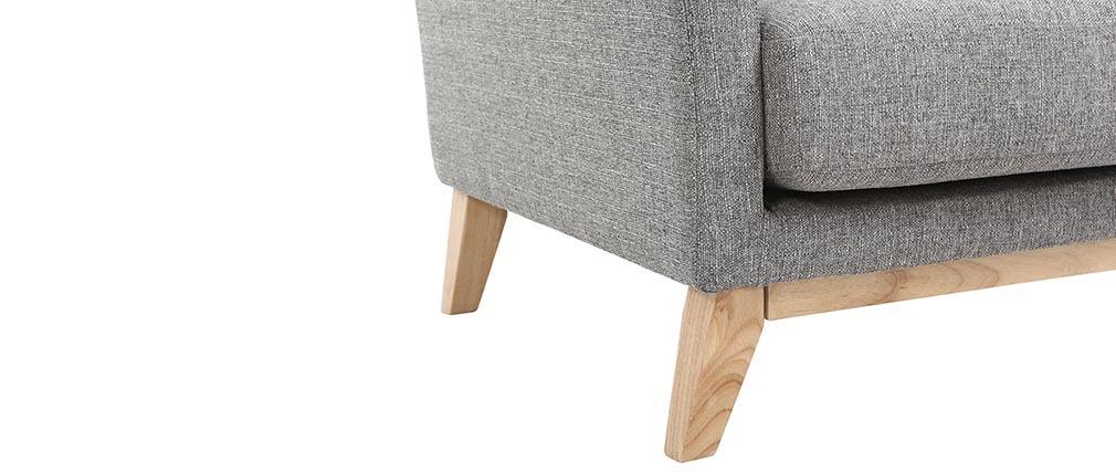 Sillón escandinavo gris claro patas madera clara OSLO