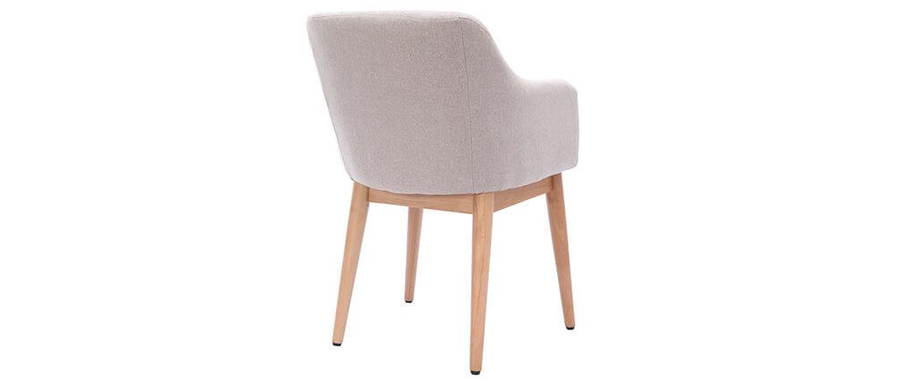 Sillón escandinavo tejido natural y patas madera lote de 2 BALTIK