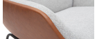 Sillón marrón con tejido efecto terciopelo gris MARCEAU