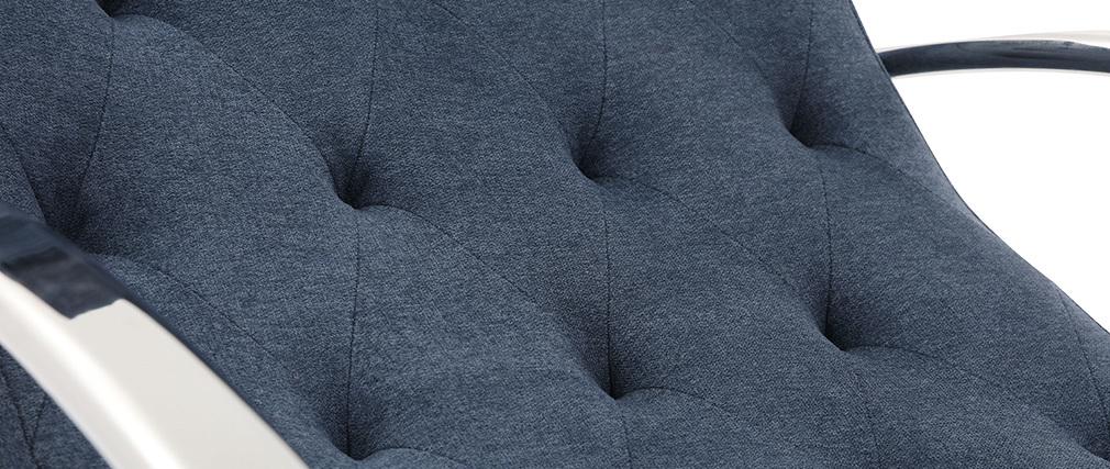 Sillón mecedora moderno efecto terciopelo azul CHESTY