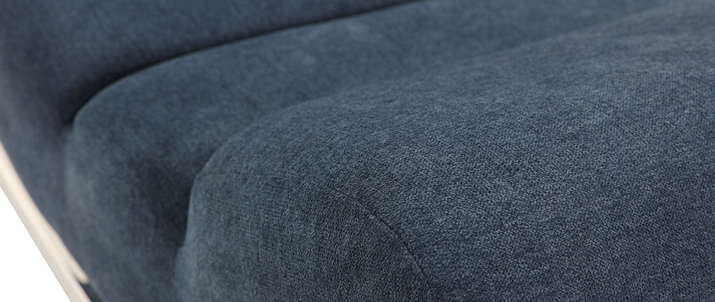 Sillón mecedora moderno efecto terciopelo azul TAYLOR