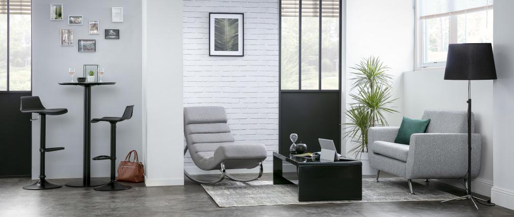 Sillón mecedora moderno en tejido gris claro TAYLOR