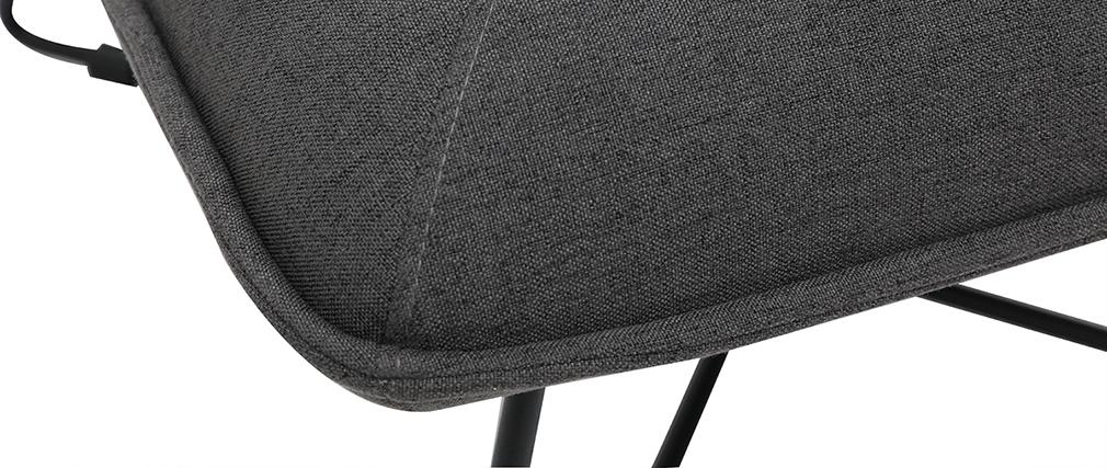 Sillón moderno con reposapiés tejido gris oscuro PHILO