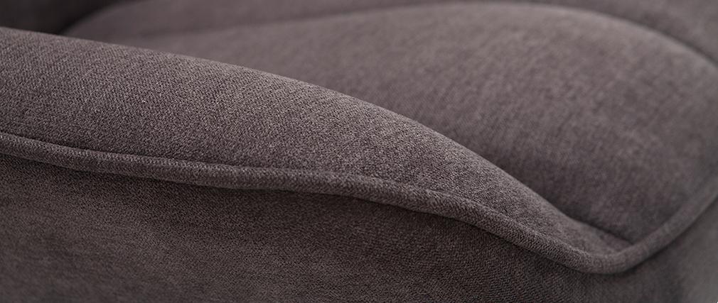 Sillón moderno en tejido efecto terciopelo gris oscuro BILLIE