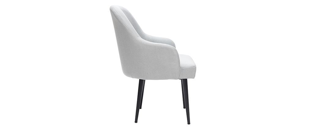 Sillón moderno en tejido gris claro y patas metal negro AMON