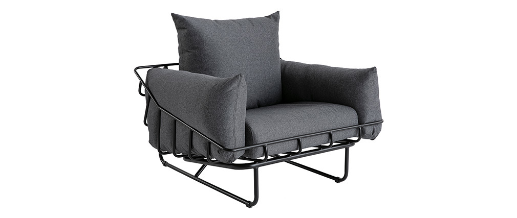 Sillón moderno en tejido gris y metal KORB