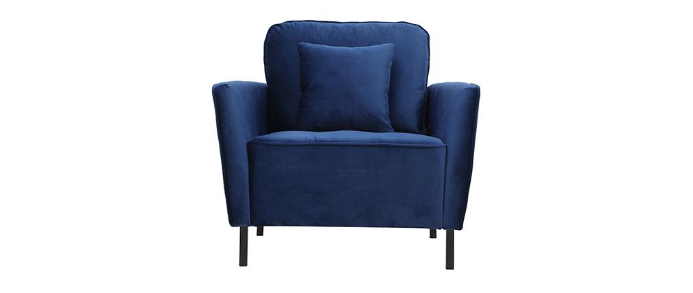Sillón moderno en terciopelo azul BEKA