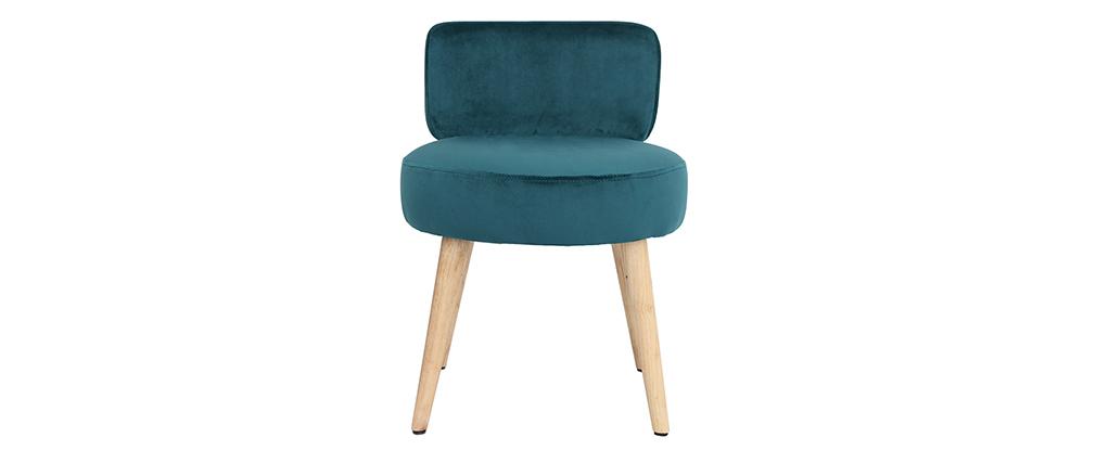 Sillón moderno en terciopelo azul petróleo y patas madera TANAKA