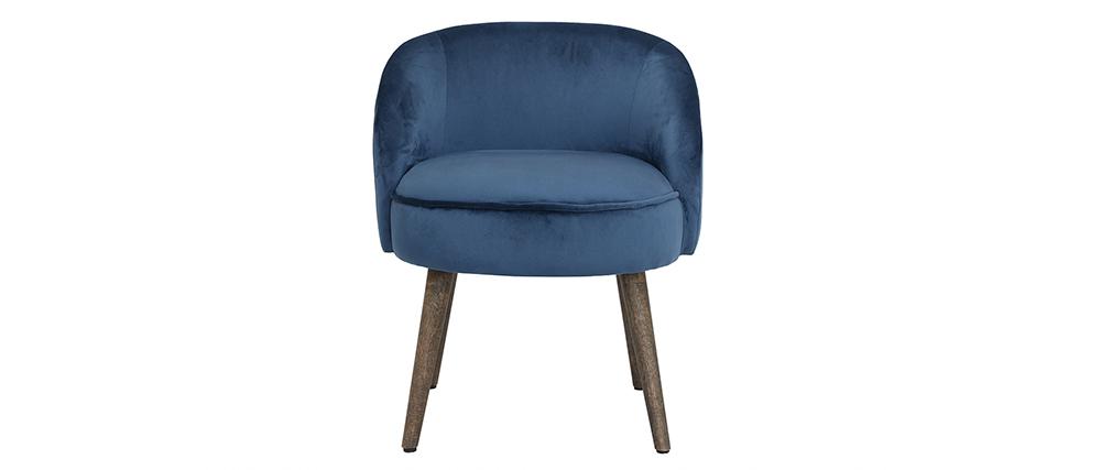 sillón moderno en terciopelo azul y patas de madera UTA