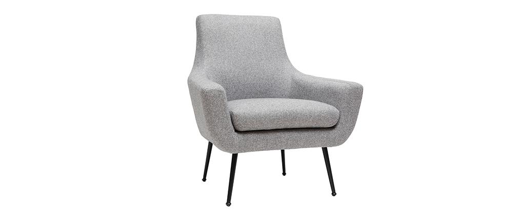 Sillón moderno gris claro y metal negro MONTANA