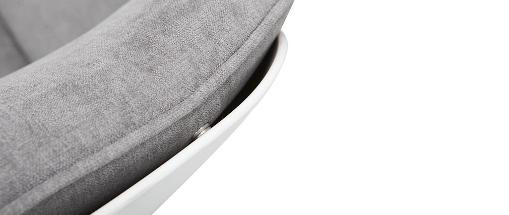 Sillón moderno parte exterior blanca y tejido gris KOKON