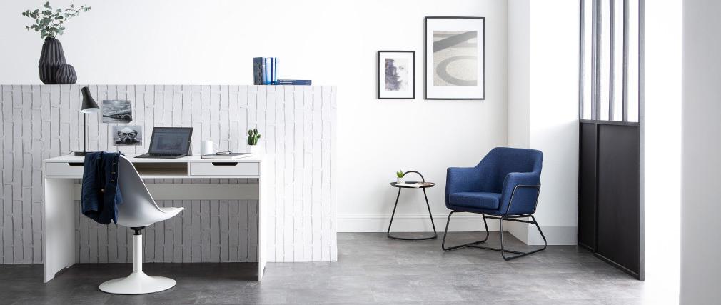 Sillón moderno tejido azul oscuro y estructura metal negro MONROE