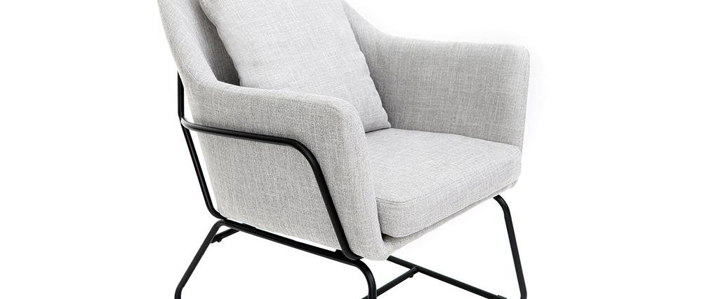 Sillón moderno tejido gris claro y estructura metal negro MONROE