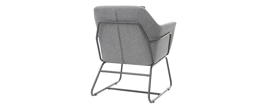 Sillón moderno tejido gris oscuro y estructura metal negro MONROE