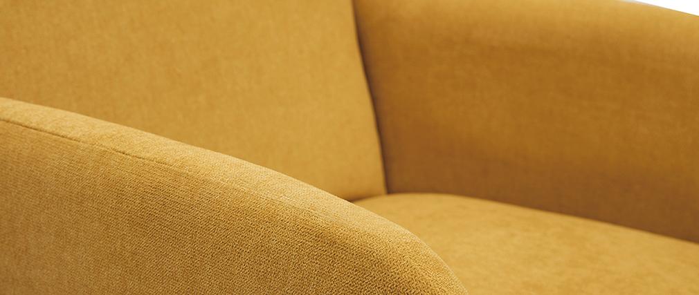 Sillón nórdico amarillo mostaza y madera ISKO - Miliboo