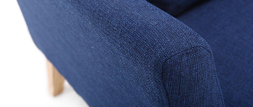 Sillón nórdico azul oscuro patas madera clara OSLO