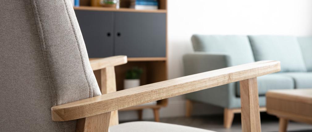Sillón nórdico beige y madera clara ABYSS